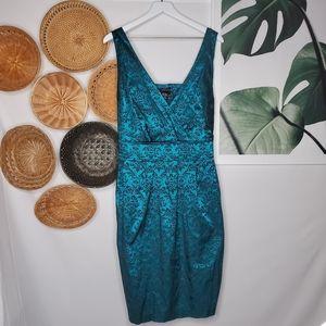 Torrid Teal Metallic Floral Smocked Tie Back Dress